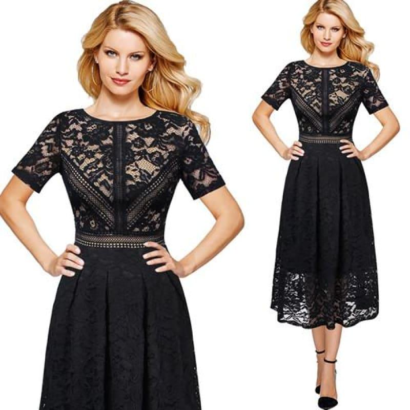 Full Floral Lace Contrast Patchwork Flare Swing Skater A-Line Midi Dress - TeresaCollections