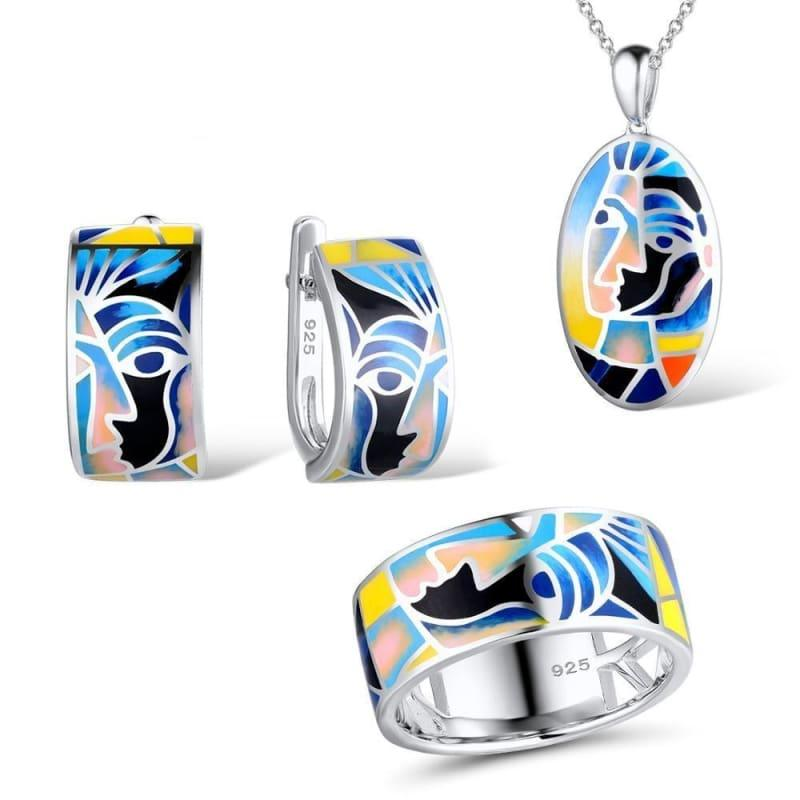 Genuine 925 Sterling Silver Face Ring Earrings Pendant Chic Colorful HANDMADE Enamel Jewelry Set - Jewelry Set