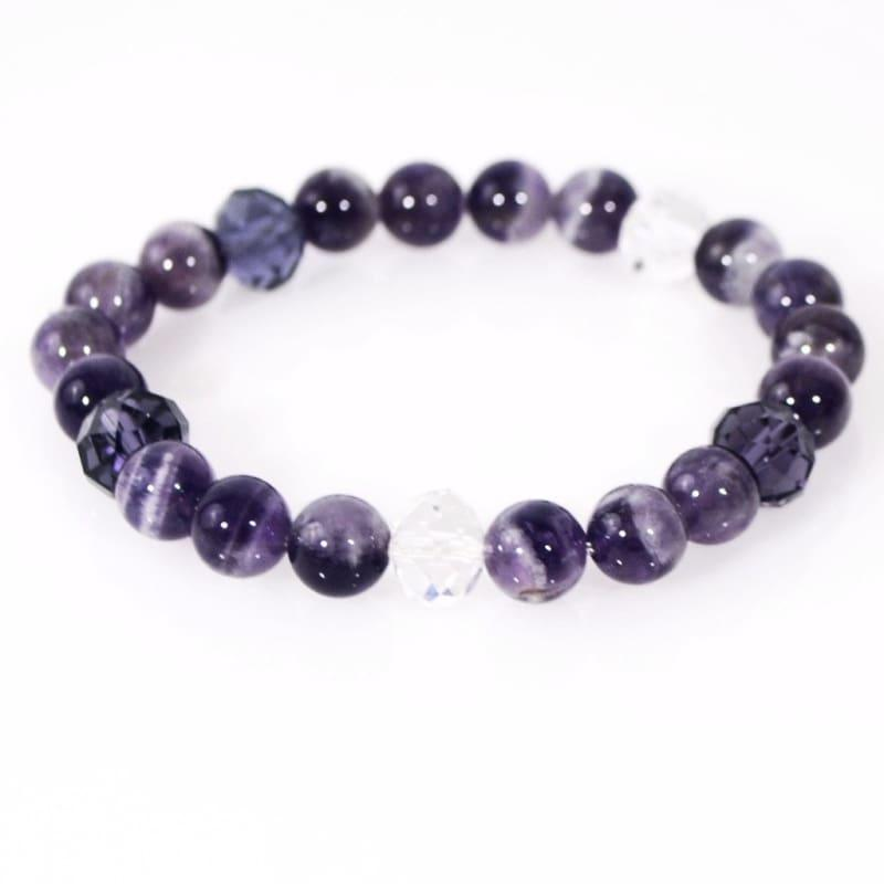 Genuine Amethyst Gemstone Beaded Womens Bracelets - Handmade