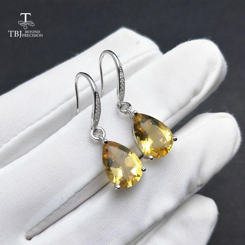Genuine Brazil Citrine Gemstone Dangle in Pure 925 Sterling Silver Water Drop 5ct Earrings - earrings