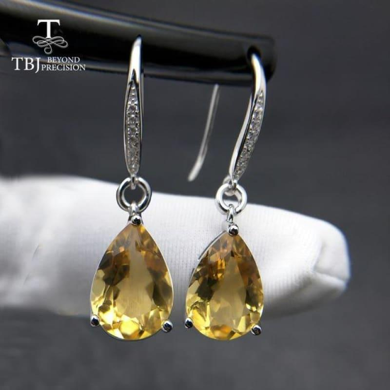 Genuine Brazil Citrine Gemstone Dangle in Pure 925 Sterling Silver Water Drop 5ct Earrings - Citrine - earrings