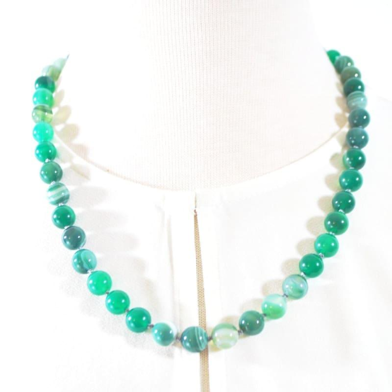 Genuine Green Stripe Agate Onyx Necklace. - TeresaCollections