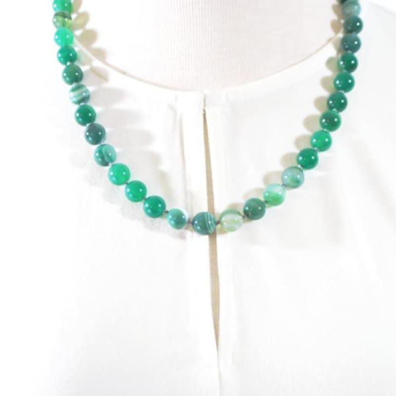 Genuine Green Stripe Agate Onyx Necklace. - Handmade