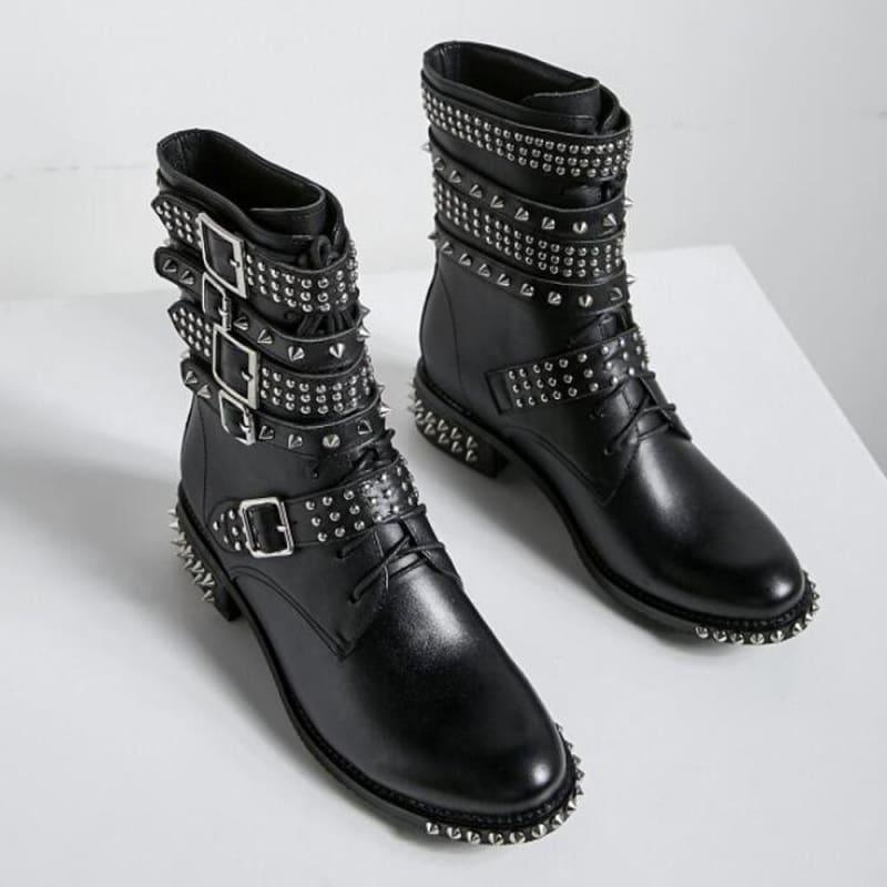 Genuine Leather Ankle Boots Motorcycle Boots - TeresaCollections