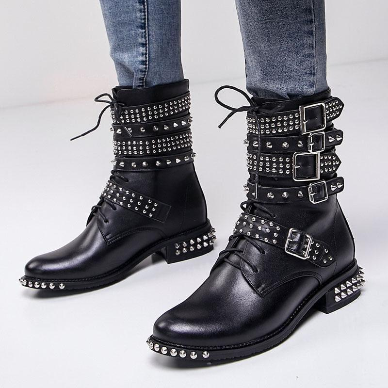 Genuine Leather Ankle Boots Motorcycle Boots - boots