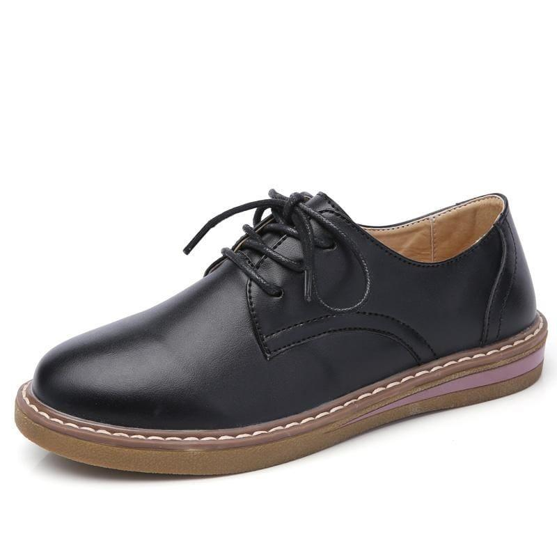 Genuine Leather Breathable Lace Up Oxford Flats - TeresaCollections