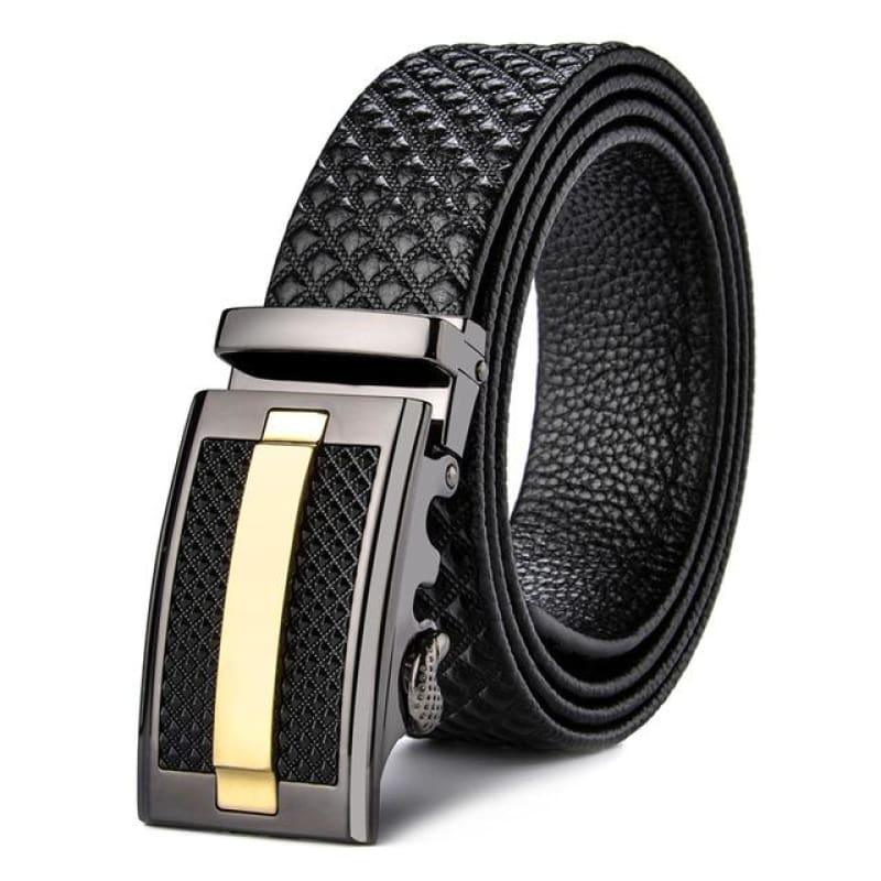 Genuine Leather Cowhide Black Automatic Buckle Mens Belts - Black / 110cm - belt