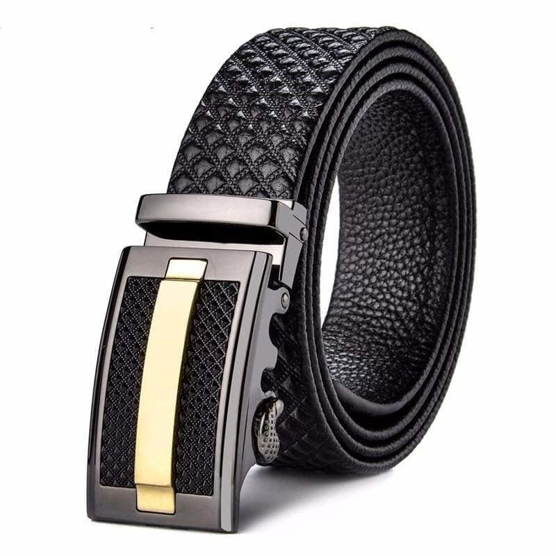 Genuine Leather Cowhide Black Automatic Buckle Mens Belts - belt