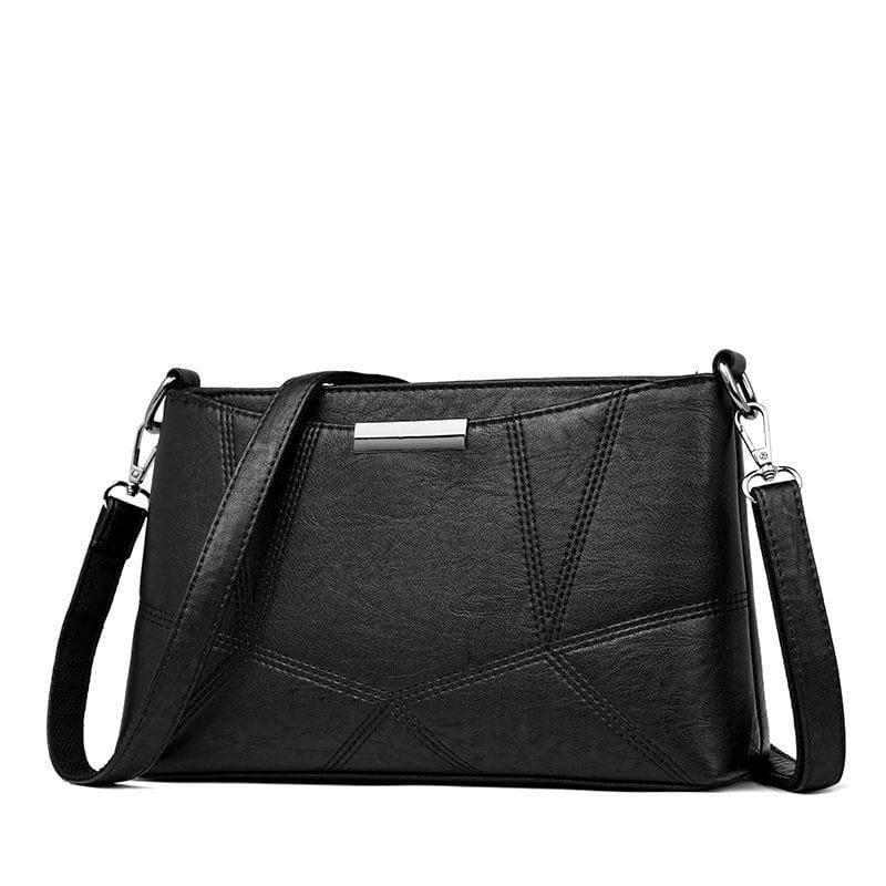 Genuine Leather Handbags Pigskin Patchwork Flap Crossbody Bag - Black - HandBag