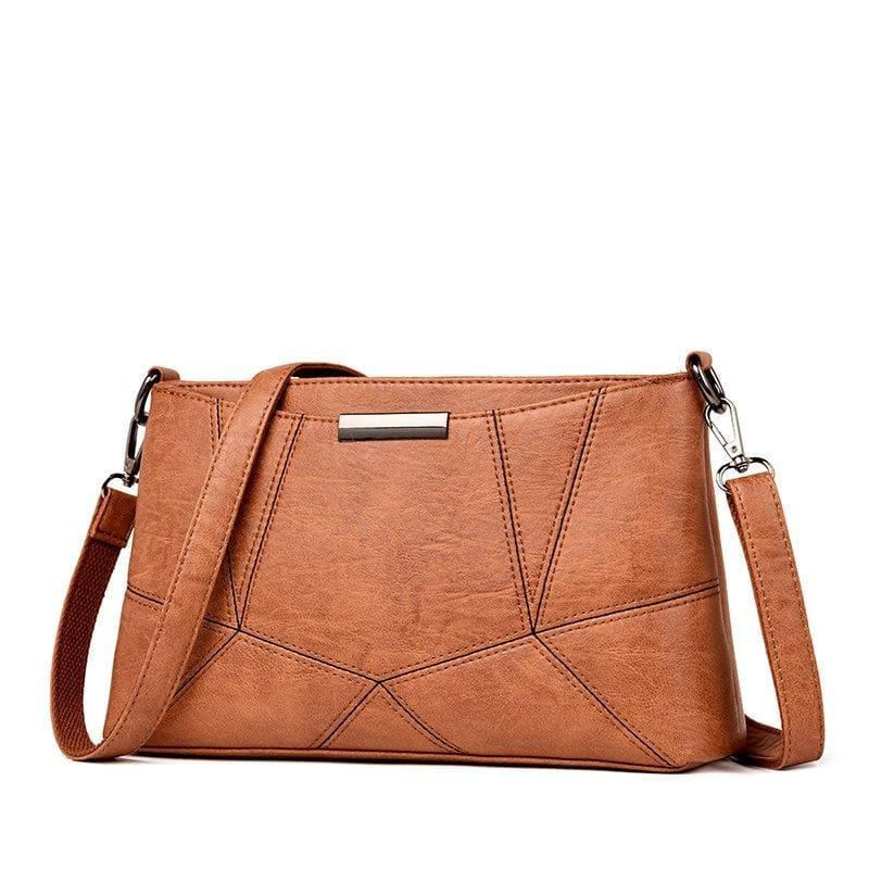 Genuine Leather Handbags Pigskin Patchwork Flap Crossbody Bag - Brown - HandBag