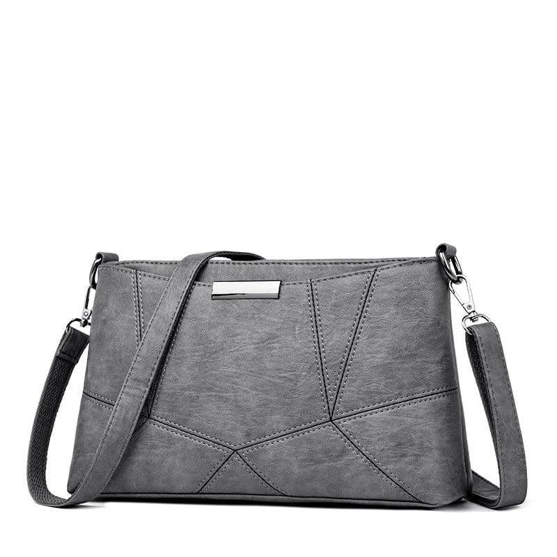 Genuine Leather Handbags Pigskin Patchwork Flap Crossbody Bag - Gray - HandBag
