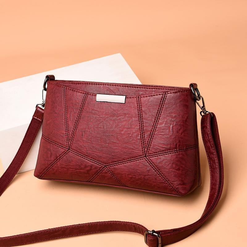 Genuine Leather Handbags Pigskin Patchwork Flap Crossbody Bag - HandBag