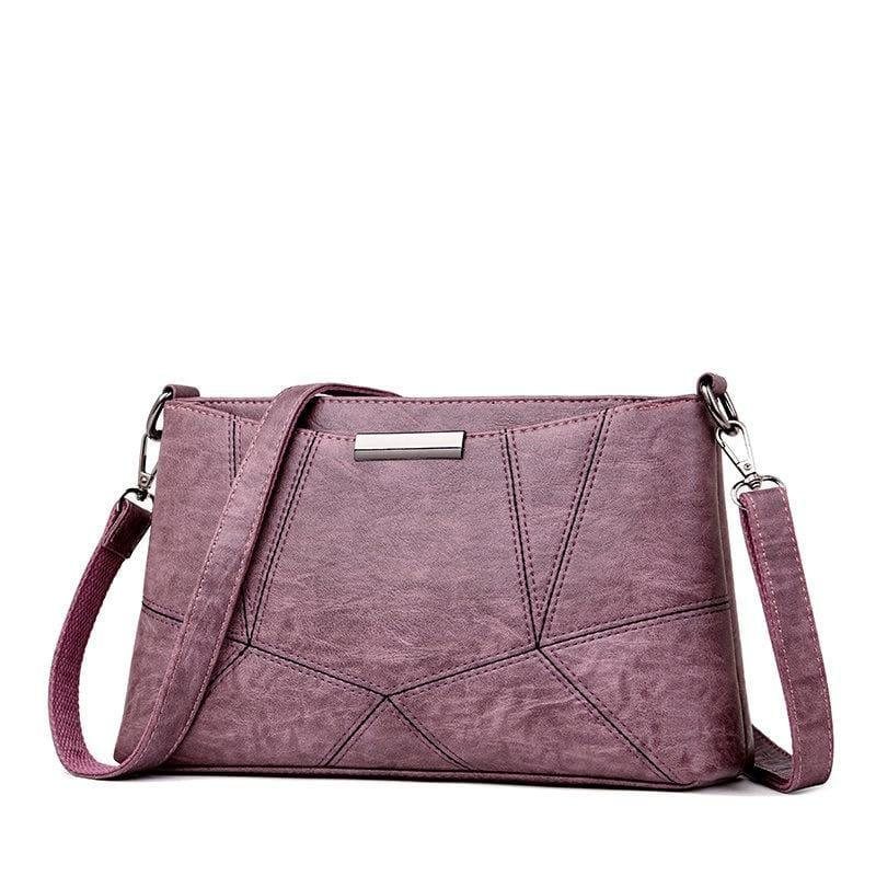 Genuine Leather Handbags Pigskin Patchwork Flap Crossbody Bag - Purple - HandBag