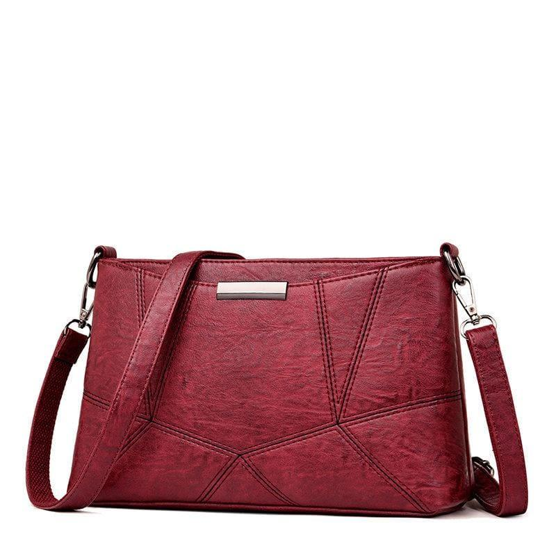 Genuine Leather Handbags Pigskin Patchwork Flap Crossbody Bag - Red wine - HandBag