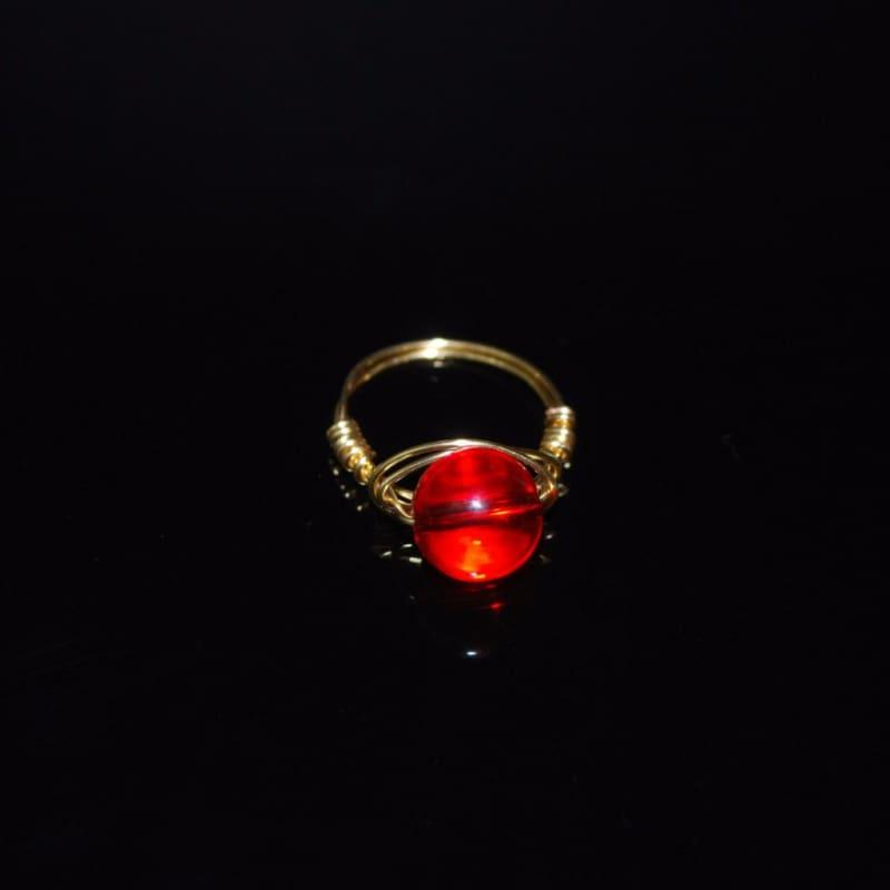Genuine Quartz Stone womens ring - 6.5 / Red - Handmade