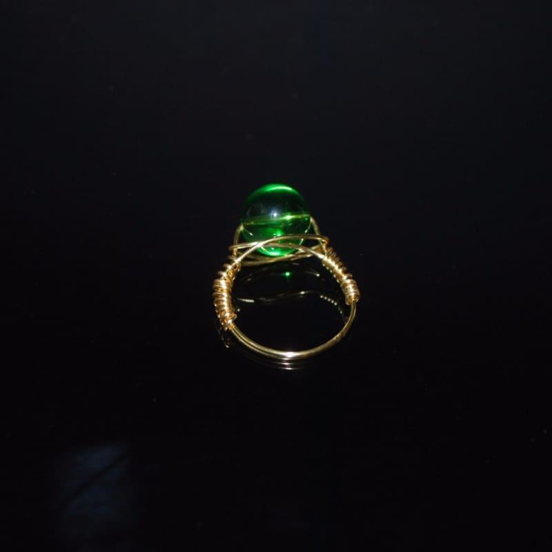 Genuine Quartz Stone womens ring - 7 / Green - Handmade