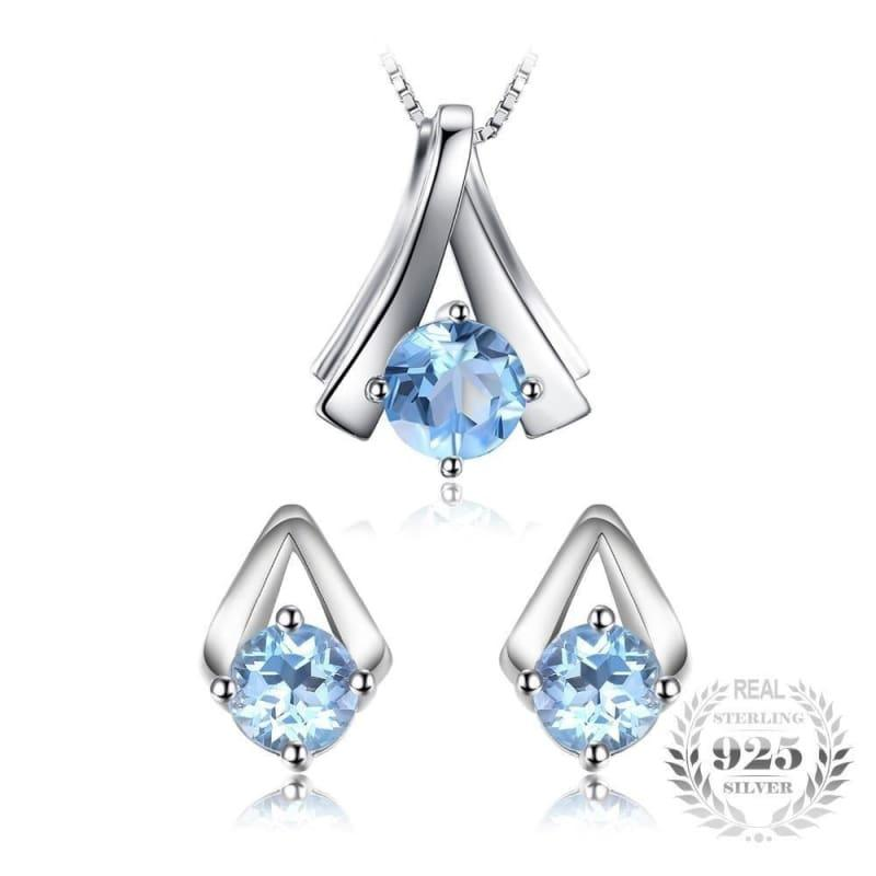 Genuine Sky Blue Topaz Pendant Necklace and Stud Earrings Women Jewelry Sets - jewelry set