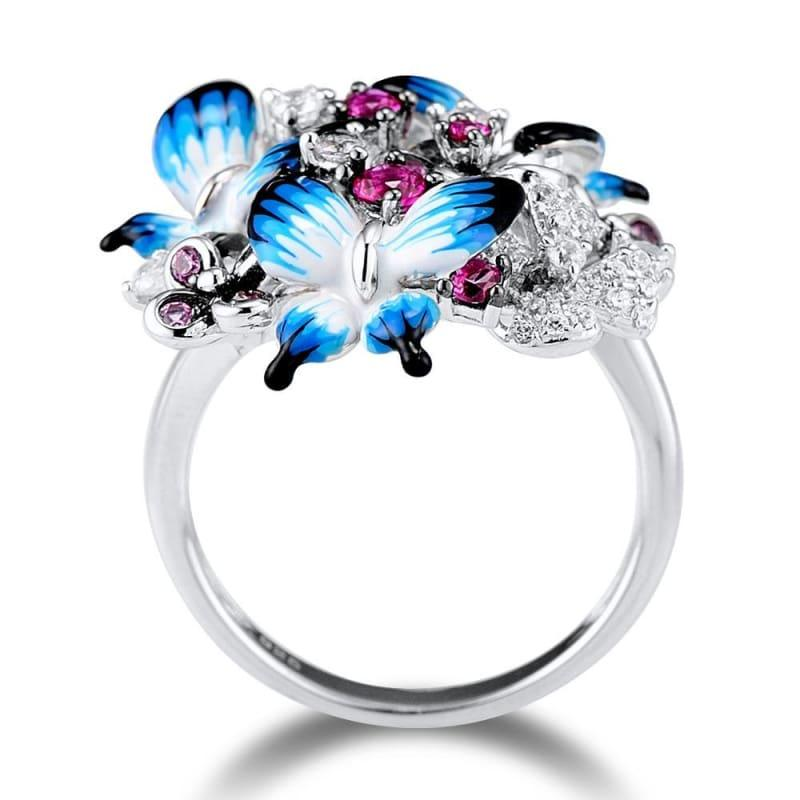 Glamorous Butterflies Shiny 925 Sterling Silver Cubic Zirconia Fashion Rings - Rings