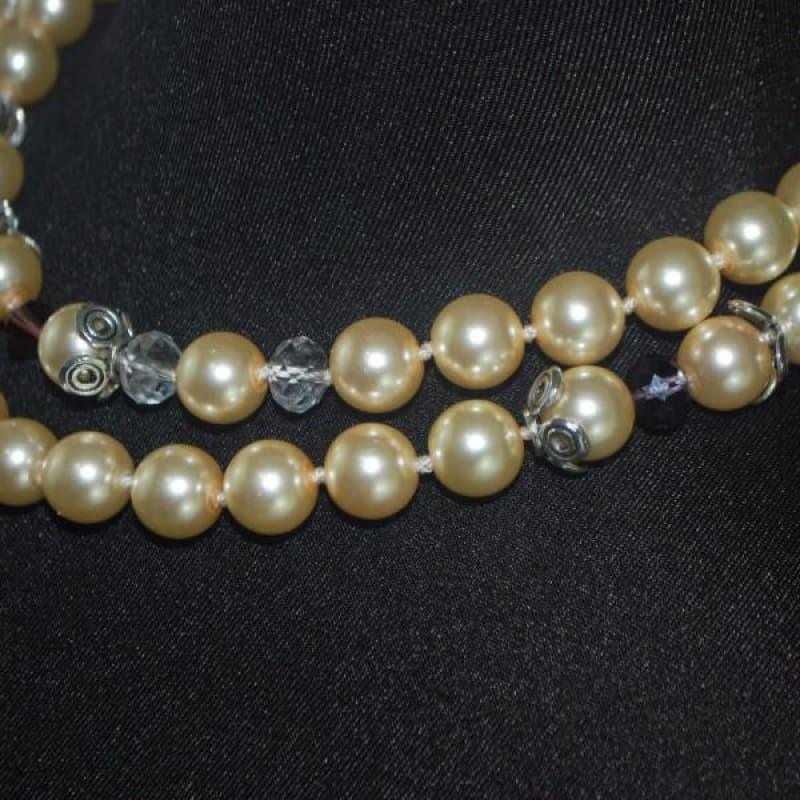 Glass Pearls Double Strands With Crystal Ascent Necklace - TeresaCollections
