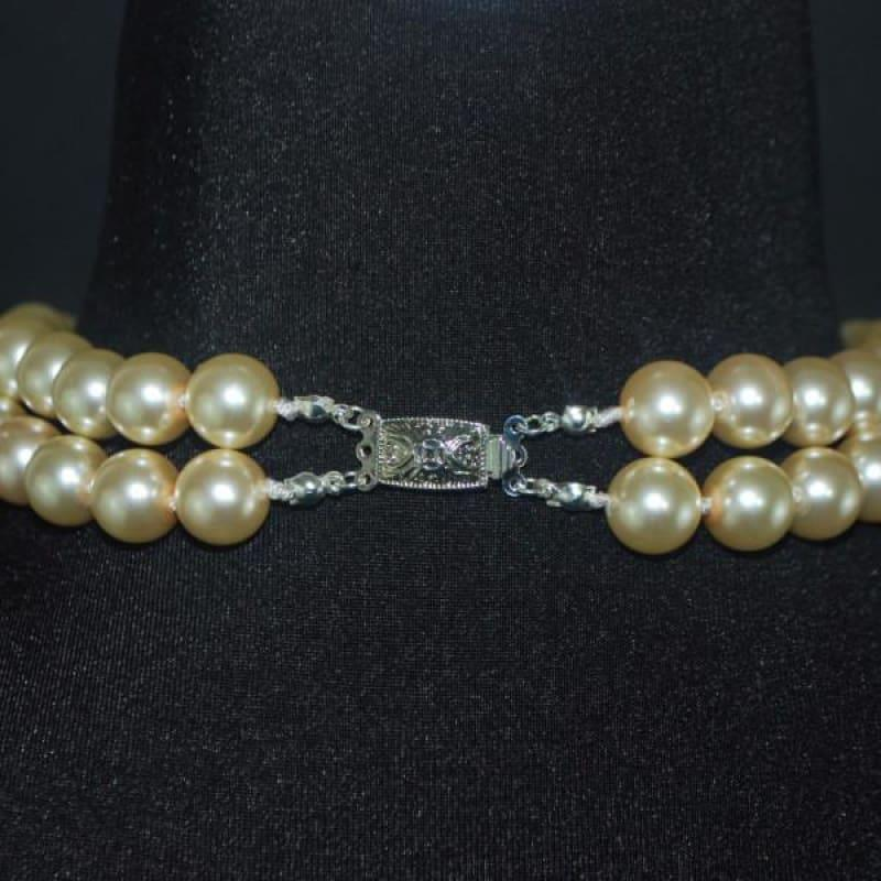 Glass Pearls Double Strands With Crystal Ascent Necklace - Handmade