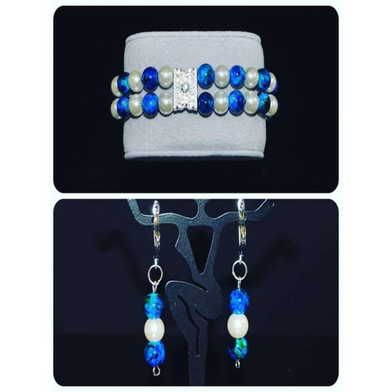 Glass Pearls Earrings and Bracelets Set - Handmade