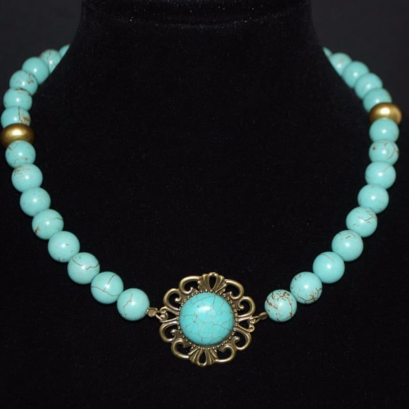 Gold Acent Turquoise Pendant Necklace - TeresaCollections