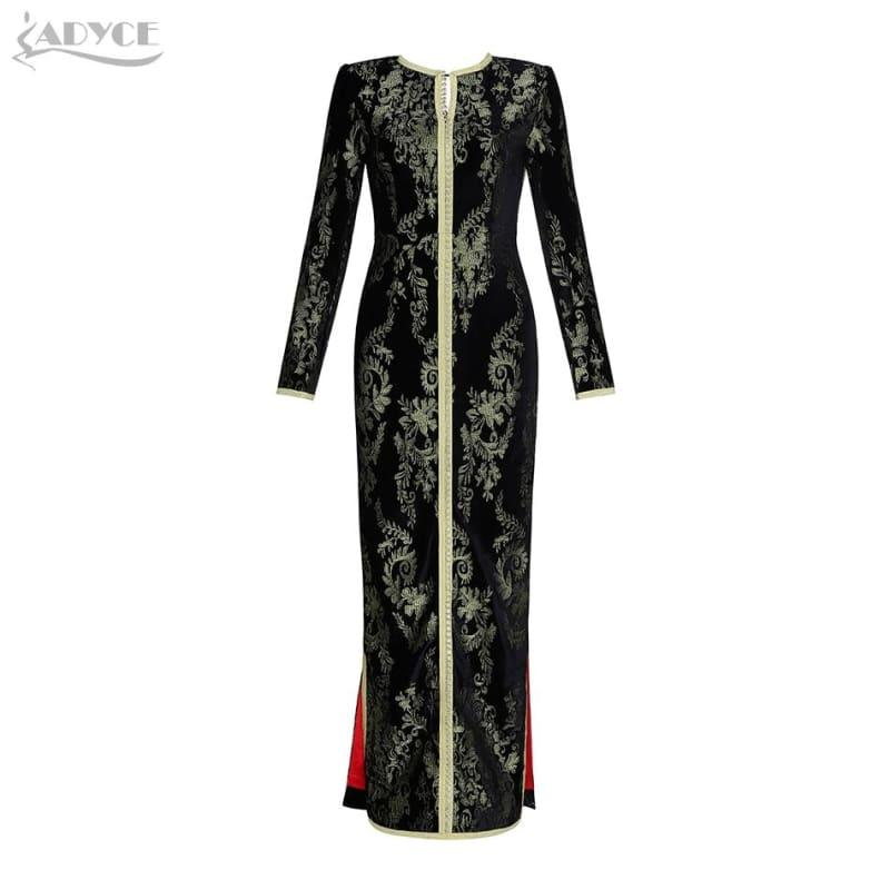 Gold and Black Luxury Formal Evening Party Sexy Long Sleeve Maxi Dress - Gown