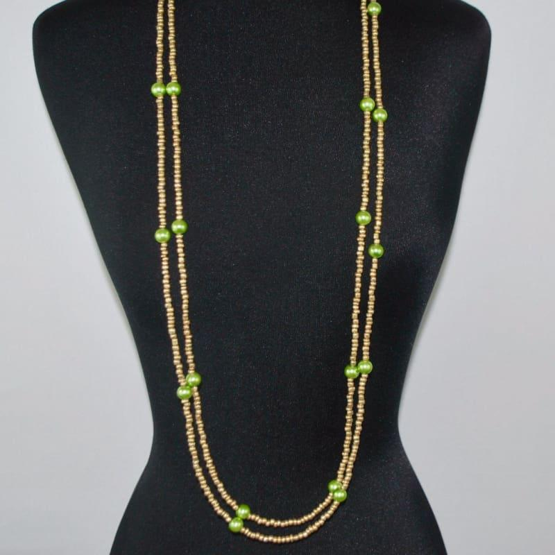 Gold And Green Glass Pearls Ascent Rope Necklace - Handmade