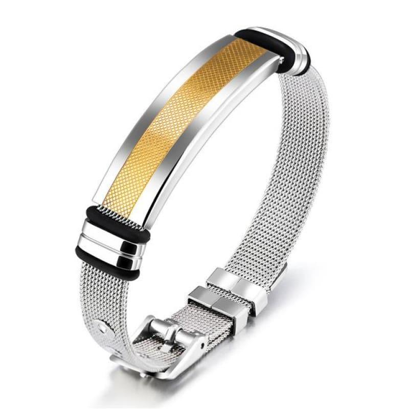 Gold Color And Stainless Steel Mens Bracelet - 80546 / China / 18.5cm - Men
