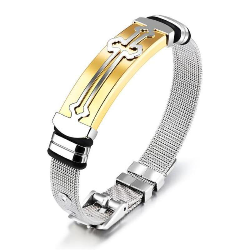 Gold Color And Stainless Steel Mens Bracelet - 80548 / China / 18.5cm - Men