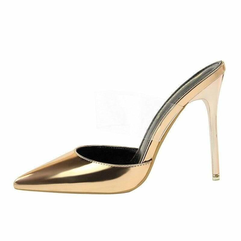 Gold Metallic Patent Leather Mule Sandals - 35 - sandals