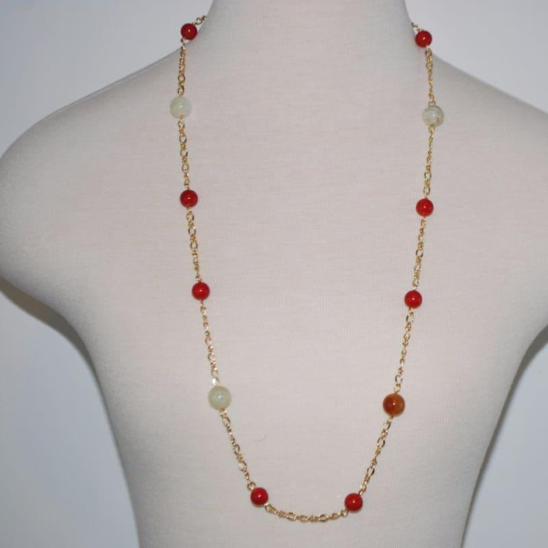 Gold Platted Red Shell Jade Necklace - Handmade