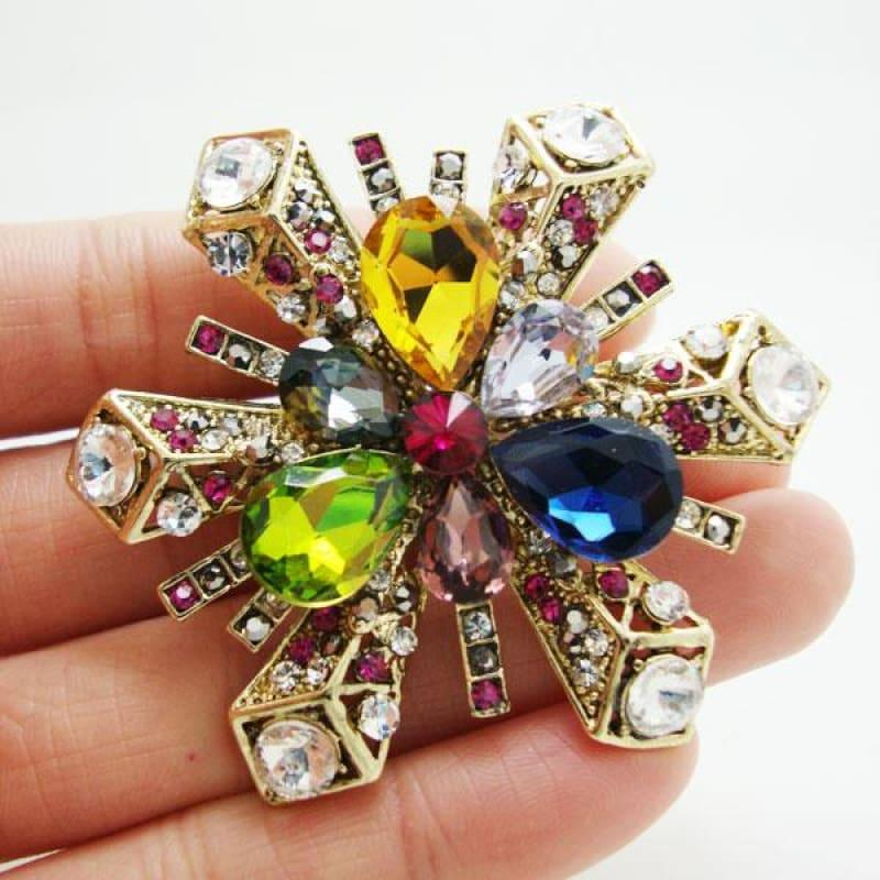 Gold Tone Classic Snowflake Flower Pendant Brooch Colorful Rhinestone Crystal - brooch