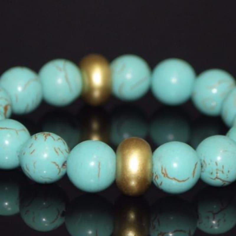 Gold Toned Acent Turquoise Bracelets - TeresaCollections
