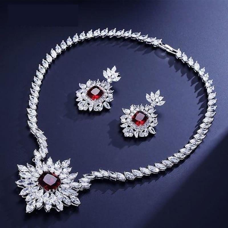 Gorgeous Big Square Cubic Zircon Jewelry Set - Red - jewelry set