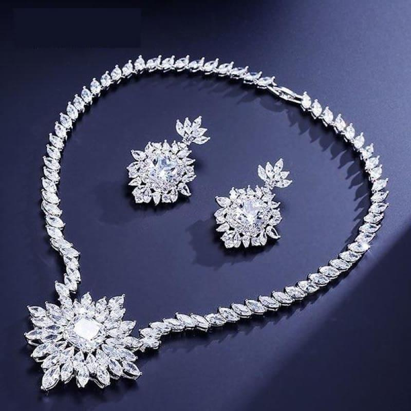 Gorgeous Big Square Cubic Zircon Jewelry Set - White - jewelry set