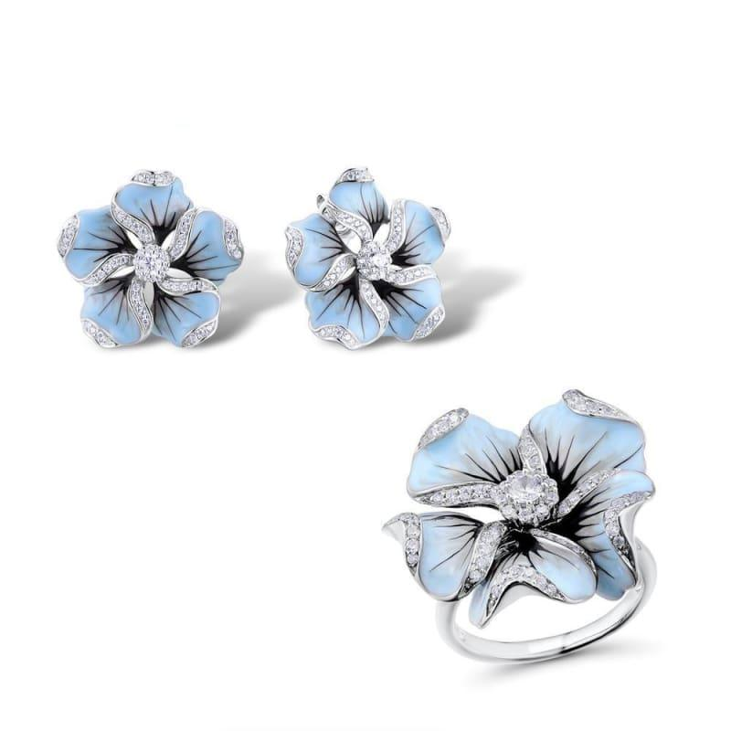 Gorgeous Blue Flower Ring Earrings Fashion Trendy Jewelry Set - 6.5 - jewelry set