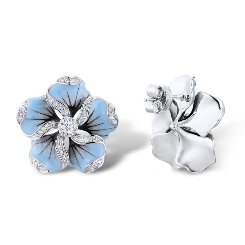 Gorgeous Blue Flower Ring Earrings Fashion Trendy Jewelry Set - jewelry set