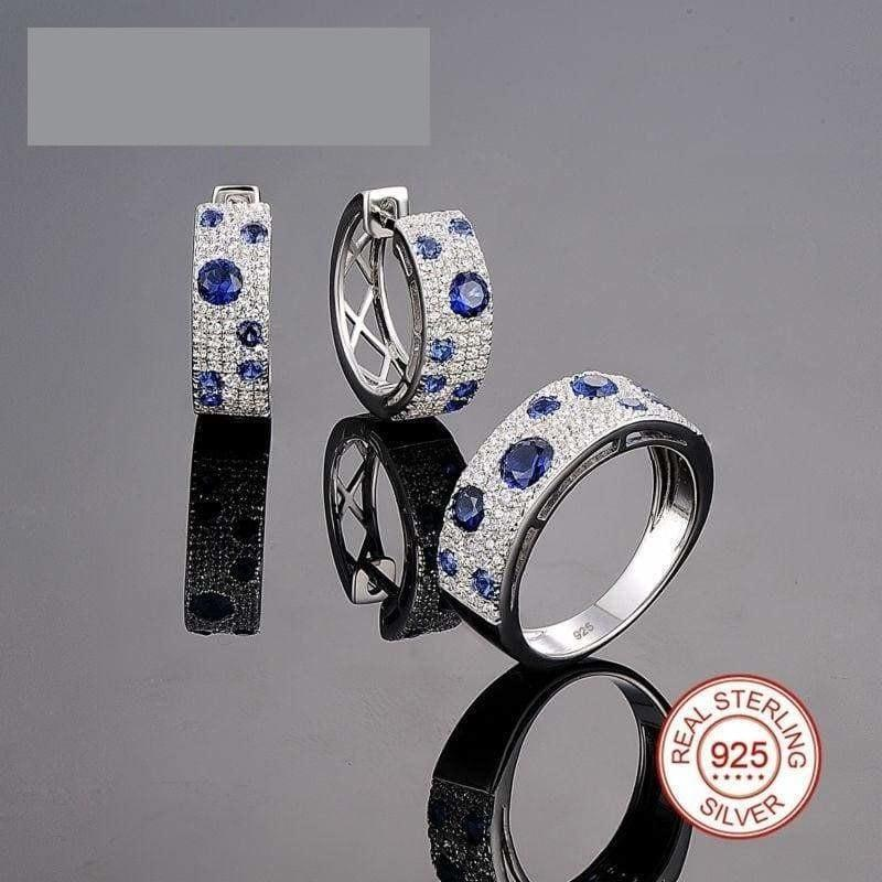 Gorgeous Blue Nano CZ 925 Sterling Silver Sparkling Women Jewelry Set - Jewelry set