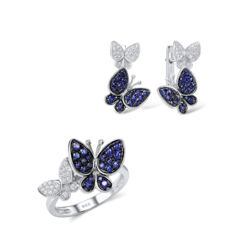 Gorgeous Butterfly Earrings Ring Genuine 100% 925 Sterling Silver Sparkling Jewelry Set - 5.5 - jewelry set