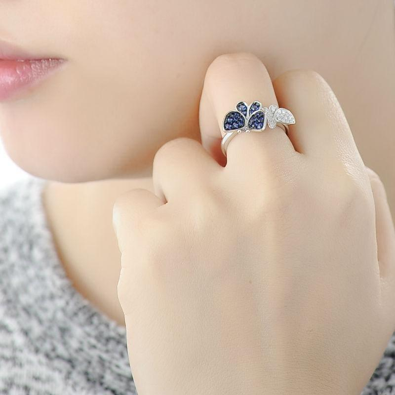 Gorgeous Butterfly Earrings Ring Genuine 100% 925 Sterling Silver Sparkling Jewelry Set - jewelry set