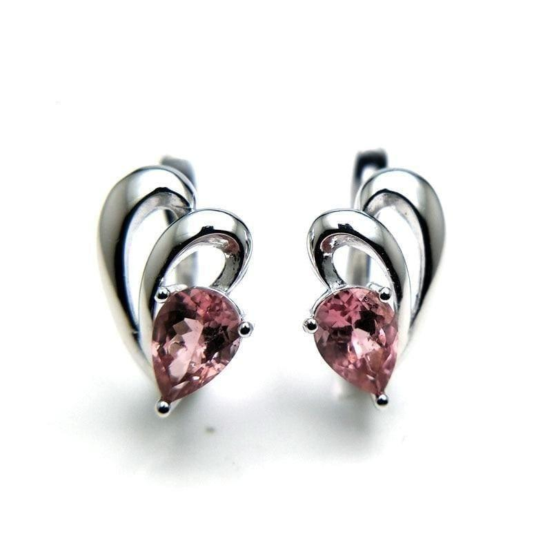 Grace Natural Pink Tourmaline Gemstone in 925 Sterling Silver Small Simple Earrings - earrings
