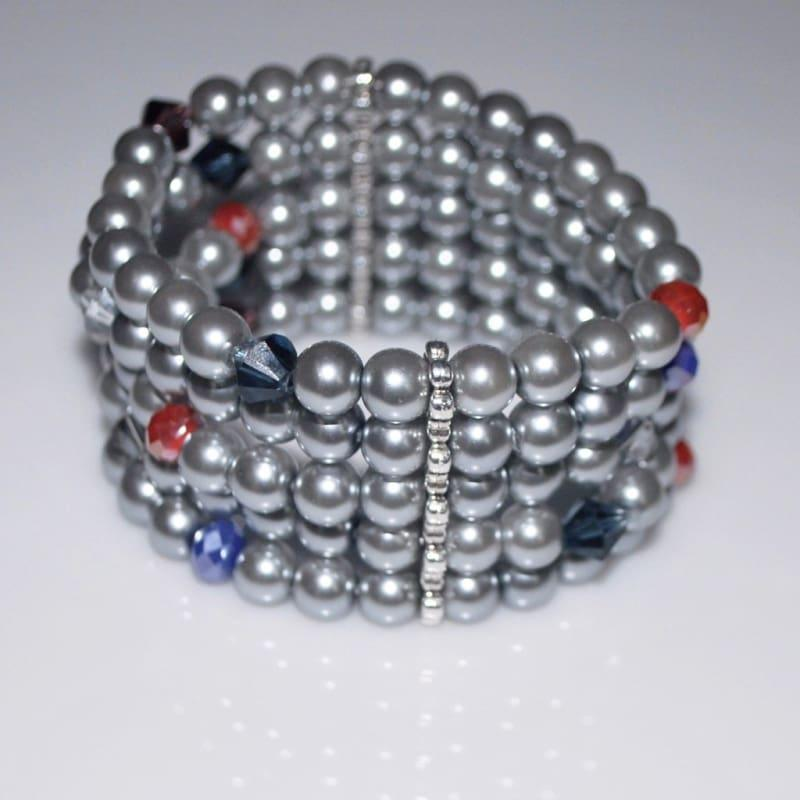 Gray Multiple Strands Glass Pearls Bracelets - Handmade