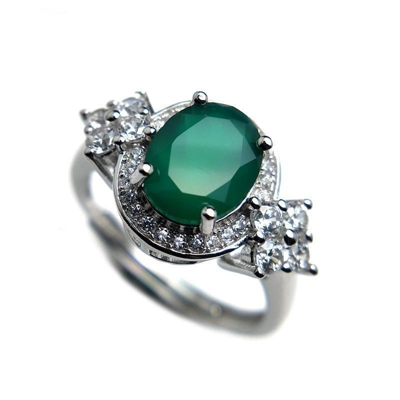 Green Agate Gemstone 7*9mm 925 Sterling Silver Ring - Resizable / Green agate - rings