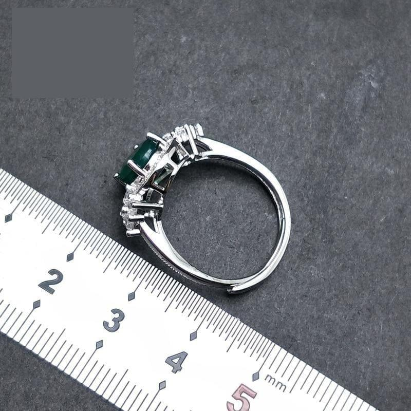 Green Agate Gemstone 7*9mm 925 Sterling Silver Ring - rings