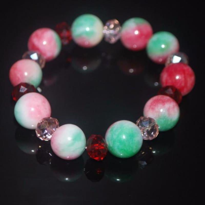Green And Red Jade With Pink Crystals Bracelets - TeresaCollections