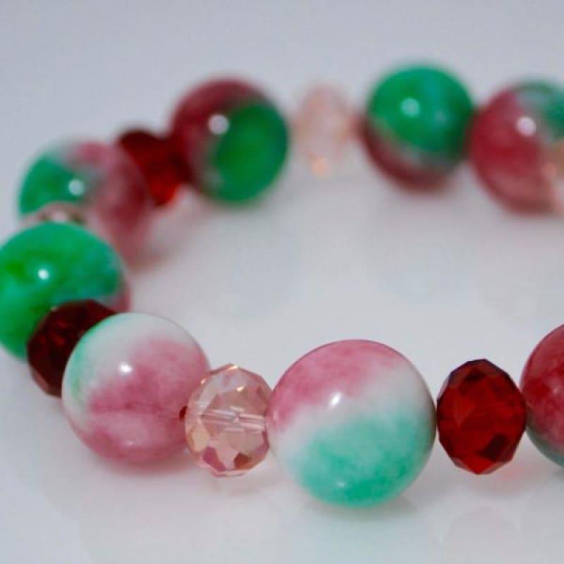 Green And Red Jade With Pink Crystals Bracelets - Handmade