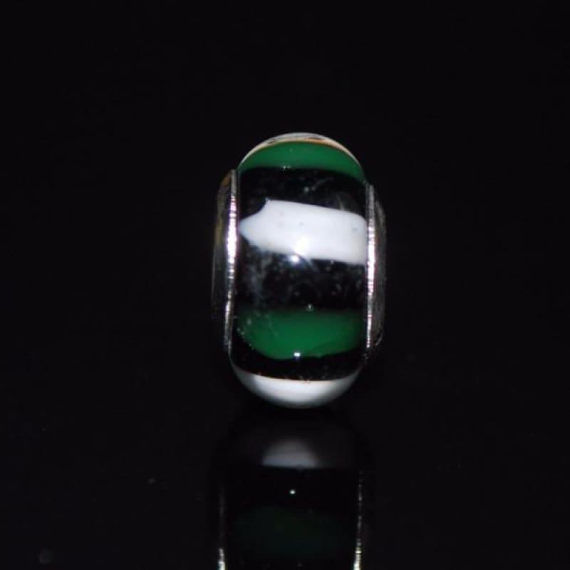 Green and White Stripe Charm Bead - Charm beads
