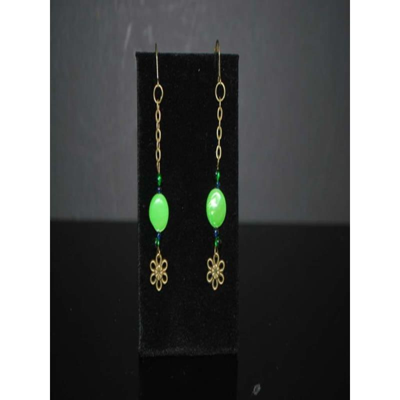 Green Antique Dangle Boho Earrings - TeresaCollections