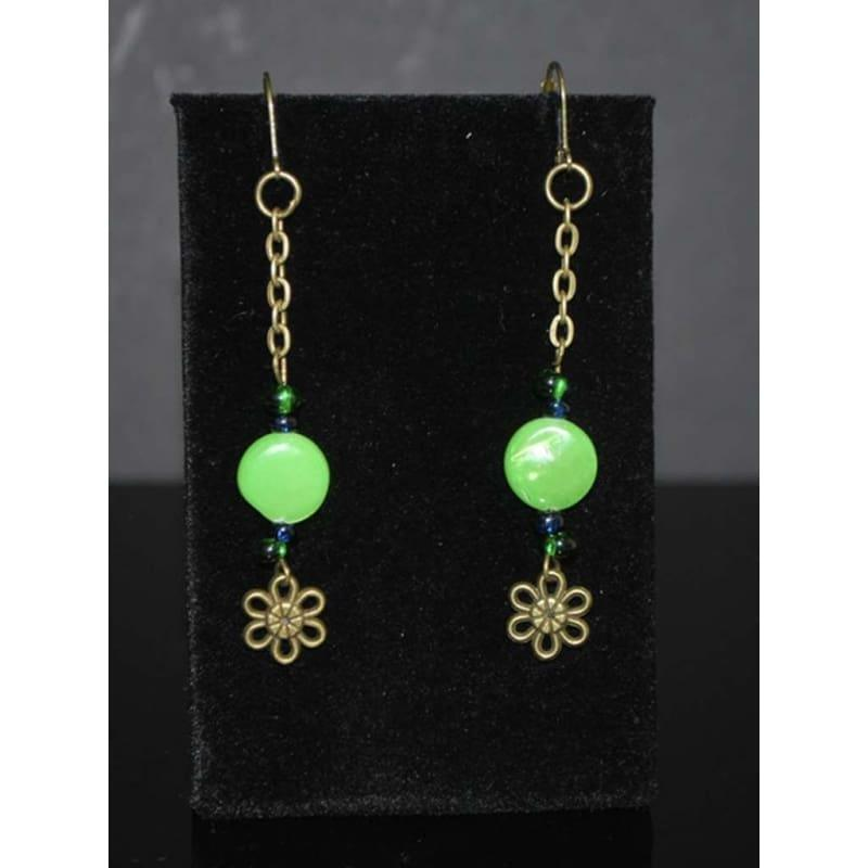 Green Antique Dangle Boho Earrings - Handmade